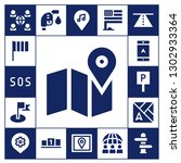 location icon set. 17 filled... | Shutterstock .eps vector #1302933364