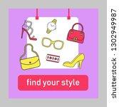 fashion blogging social media... | Shutterstock .eps vector #1302949987