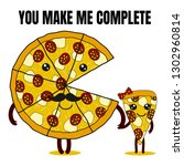 cute pizza couple in love with... | Shutterstock .eps vector #1302960814
