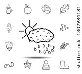 sun over cloud with rain icon....