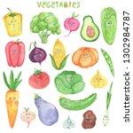 watercolor set of funny... | Shutterstock . vector #1302984787