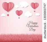 paper hearts with cloud pink... | Shutterstock .eps vector #1303003747