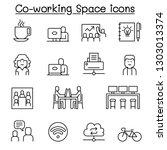 co working space icon set in... | Shutterstock .eps vector #1303013374