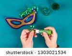 diy masquerade mask mardi gras  ...   Shutterstock . vector #1303021534
