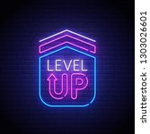 game popup. level up neon sign  ...