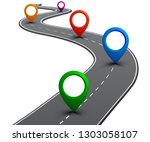 road with gps navigation. car... | Shutterstock .eps vector #1303058107