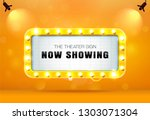 theater sign on curtain | Shutterstock .eps vector #1303071304
