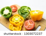 colorful vegetables on a wooden ... | Shutterstock . vector #1303072237