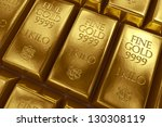 3d rendering of gold bullion. | Shutterstock . vector #130308119