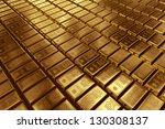3d rendering of gold bullion. | Shutterstock . vector #130308137