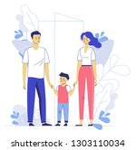happy young family dad  mom ... | Shutterstock .eps vector #1303110034