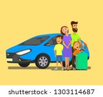 happy family near the car with... | Shutterstock .eps vector #1303114687