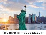statue of liberty at sunset | Shutterstock . vector #1303122124