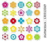 set of bright flower stickers | Shutterstock .eps vector #130313369