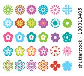 set of colorful flowers | Shutterstock .eps vector #130313405