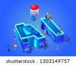 ai 3d neon letters. artificial... | Shutterstock .eps vector #1303149757