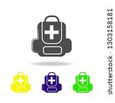 first aid kit colored icons....