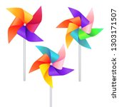 realistic detailed 3d wind mill ... | Shutterstock .eps vector #1303171507