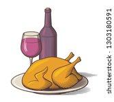 bottle of red wine  wineglass... | Shutterstock .eps vector #1303180591