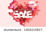 valentines day sale card with... | Shutterstock .eps vector #1303215817