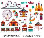 amusement park attractions set. ... | Shutterstock .eps vector #1303217791