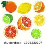 citrus set  lemon  orange ... | Shutterstock .eps vector #1303230307