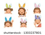 little girl wearing bunny ears... | Shutterstock .eps vector #1303237801