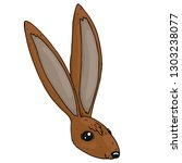 Stock vector hare rabbit hand drawn vector illustration of a cartoon rabbit hare funny hare icon 1303238077