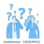 thinking couple. confused young ... | Shutterstock .eps vector #1303249411