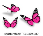 Stock photo three pink butterflies isolated on white 130326287