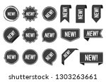 new labels  black isolated on... | Shutterstock .eps vector #1303263661