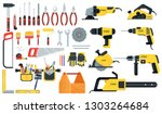 tools for building construction ...   Shutterstock . vector #1303264684