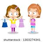 pretty cartoon girls talking... | Shutterstock .eps vector #1303274341