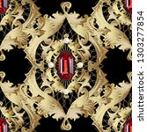 gold baroque 3d vector seamless ... | Shutterstock .eps vector #1303277854