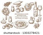 mediterranean cuisine. octopus... | Shutterstock .eps vector #1303278421
