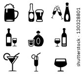 alcoholic drinks icons | Shutterstock .eps vector #130328801