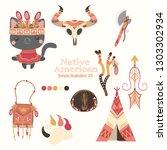 illustrations of native... | Shutterstock .eps vector #1303302934