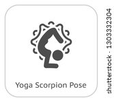 yoga scorpion pose icon. flat... | Shutterstock .eps vector #1303332304