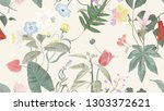botanical seamless pattern ... | Shutterstock .eps vector #1303372621