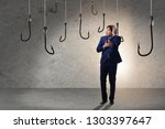 businessman being tempted to... | Shutterstock . vector #1303397647