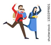 arab family refugees running... | Shutterstock .eps vector #1303399801