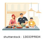 cooking food family at kitchen... | Shutterstock .eps vector #1303399834