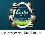happy easter sale background... | Shutterstock .eps vector #1303418707