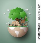 world wildlife day with the... | Shutterstock .eps vector #1303419124