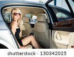 young blond lady sitting on a...   Shutterstock . vector #130342025