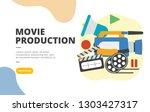 movie production flat design...   Shutterstock .eps vector #1303427317
