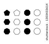 vector set icon pentagon ... | Shutterstock .eps vector #1303433614