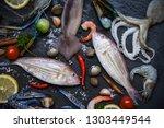 Fresh Raw Seafood With Herbs...