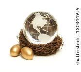 The world rests in the nurture of a wealthy nest for global finance concepts. - stock photo