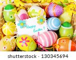 colorful background with easter ... | Shutterstock . vector #130345694